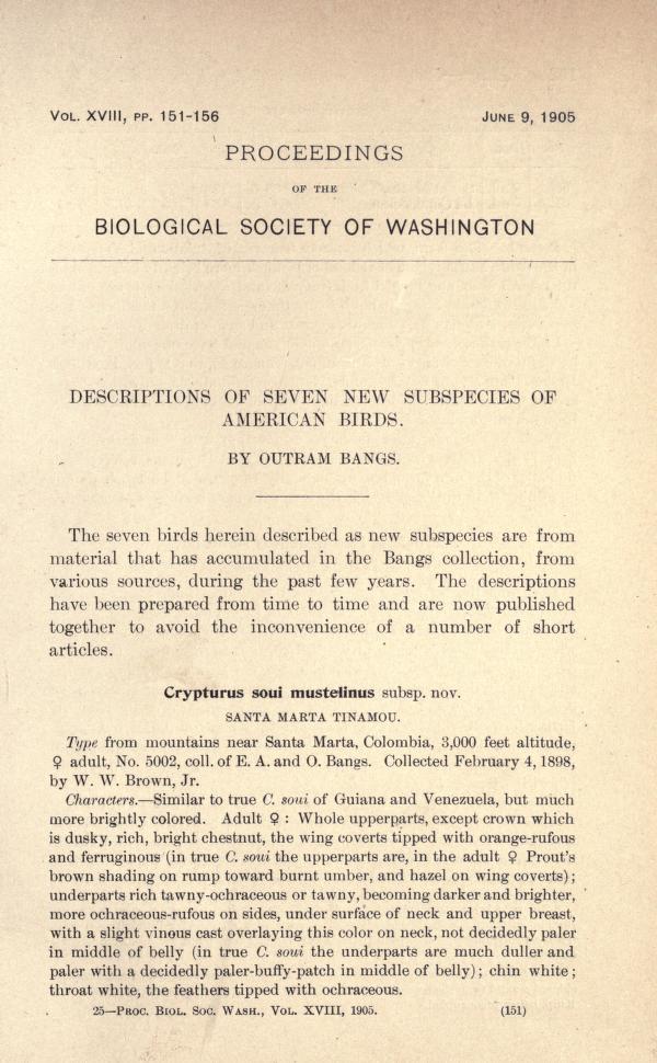 Descriptions of Seven New Subspecies of American Birds