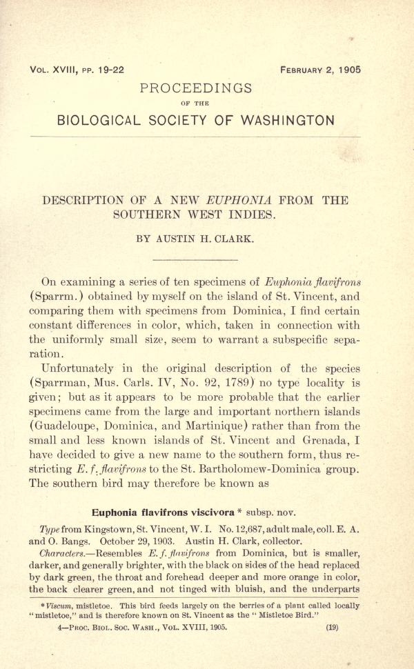Description of a new Euphonia from the Southern West Indies